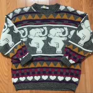 Vintage Dancing Elephants Sweater